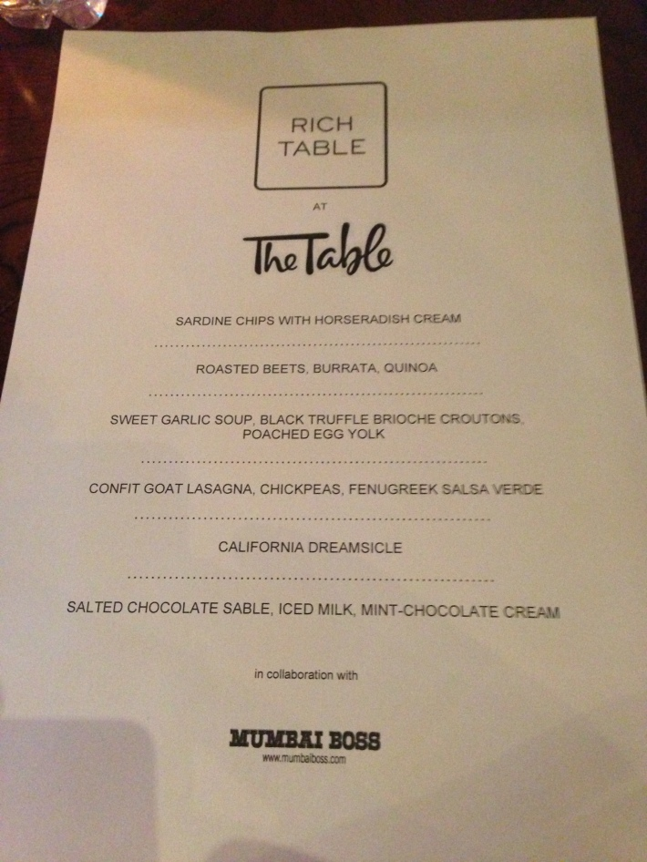 The Rich Table special menu for the evening