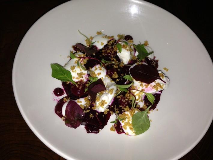 Beet salad, Buratta, quinoa