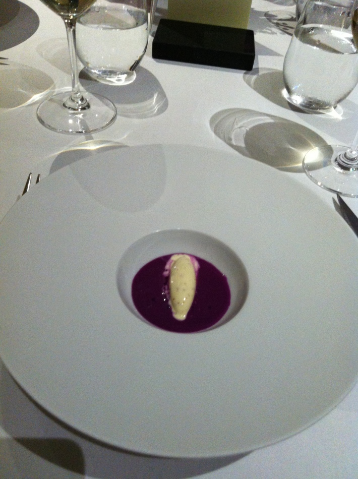 Red cabbage gazpacho, grain mustard ice cream