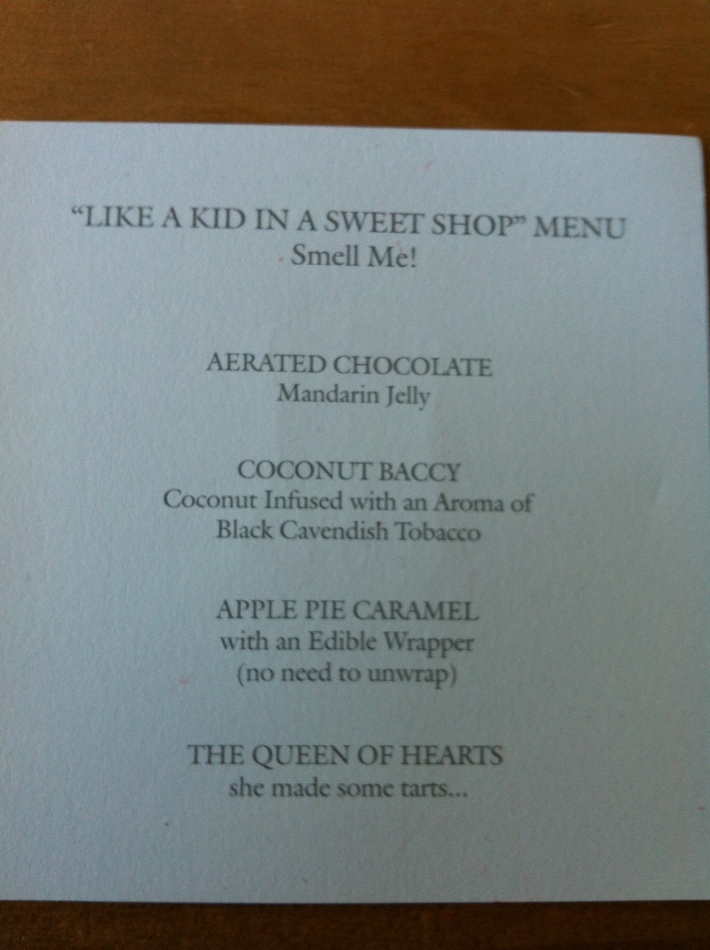 Sweet shop menu