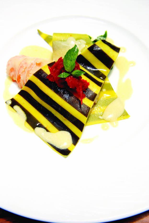 Butter poached lobster ravioli